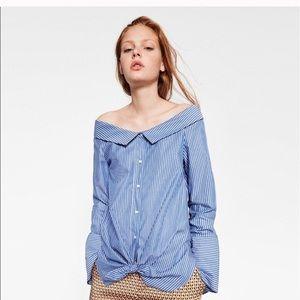 Zara Trafaluc Collection Off Shoulder Shirt Sz Md